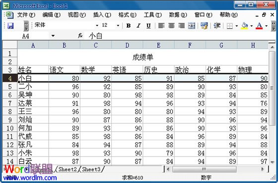 Excel 2003固定表頭設置